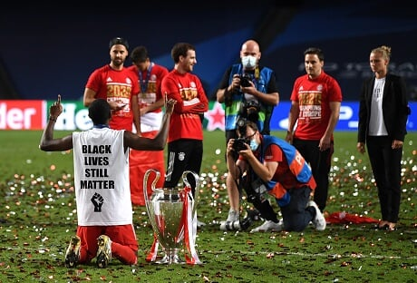 Alaba in a Black Lives Matter Jersey took a knee after winning the ...
